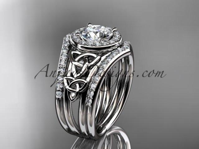 "platinum diamond celtic trinity knot wedding ring, engagement ring with a ""Forever One"" Moissanite center stone and double matching band CT7131S - AnjaysDesigns"