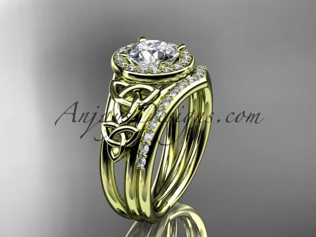 "14kt yellow gold diamond celtic trinity knot wedding ring, engagement set with a ""Forever One"" Moissanite center stone CT7131S - AnjaysDesigns"