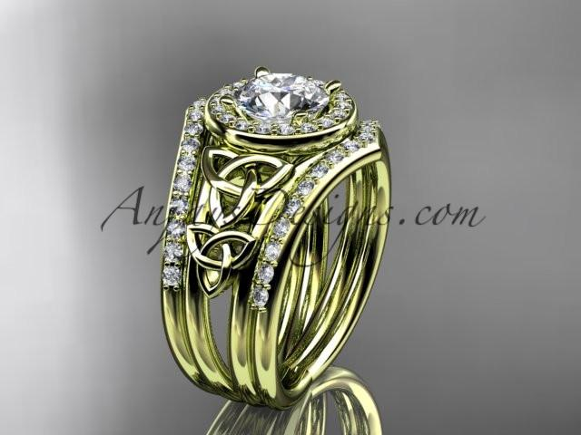 "14kt yellow gold diamond celtic trinity knot wedding ring, engagement ring with a ""Forever One"" Moissanite center stone and double matching band CT7131S - AnjaysDesigns"