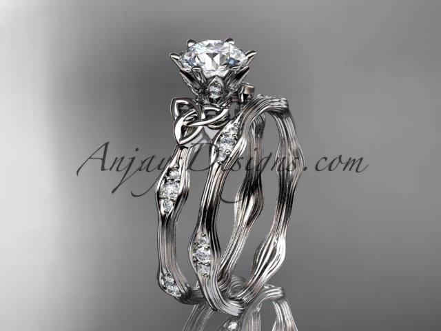 "platinum diamond celtic trinity knot wedding ring, engagement set with a ""Forever One"" Moissanite center stone CT7132S - AnjaysDesigns"