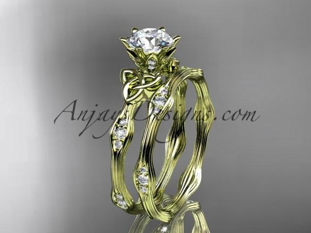 "14kt yellow gold diamond celtic trinity knot wedding ring, engagement set with a ""Forever One"" Moissanite center stone CT7132S - AnjaysDesigns"