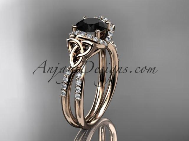 14kt rose gold diamond celtic trinity knot wedding ring, engagement ring with a Black Diamond center stone CT7155 - AnjaysDesigns