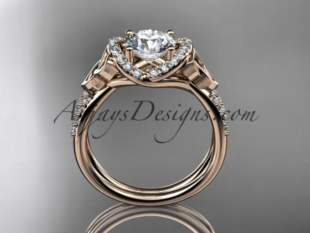 "14kt rose gold diamond celtic trinity knot wedding ring, engagement ring with a ""Forever One"" Moissanite center stone CT7155 - AnjaysDesigns"