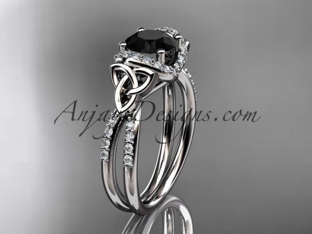 platinum diamond celtic trinity knot wedding ring, engagement ring with a Black Diamond center stone CT7155 - AnjaysDesigns