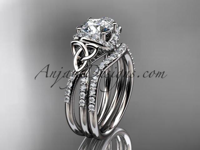 "platinum diamond celtic trinity knot wedding ring, engagement set with a ""Forever One"" Moissanite center stone CT7155S - AnjaysDesigns"