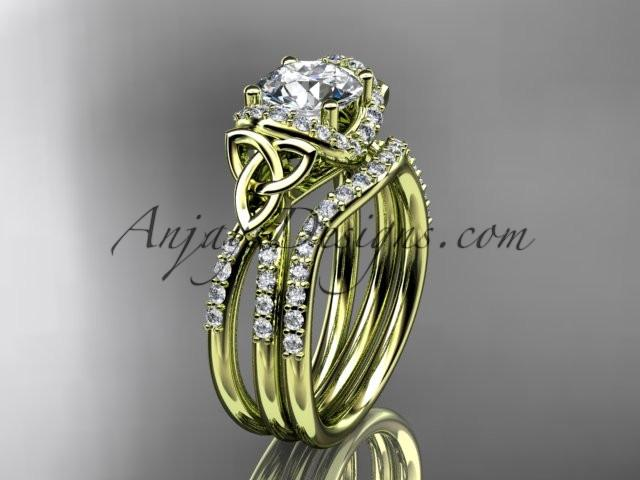 "14kt yellow gold diamond celtic trinity knot wedding ring, engagement set with a ""Forever One"" Moissanite center stone CT7155S - AnjaysDesigns"