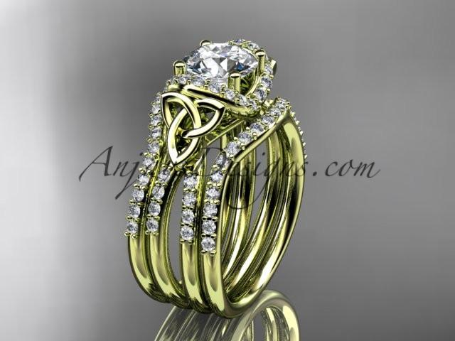 "14kt yellow gold diamond celtic trinity knot wedding ring, engagement ring with a ""Forever One"" Moissanite center stone and double matching band CT7155S - AnjaysDesigns"