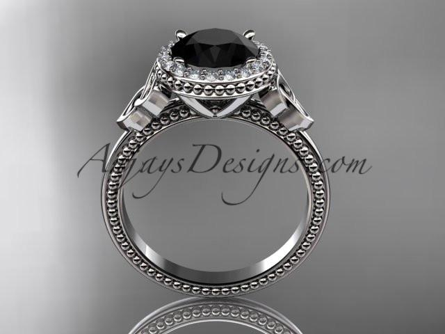platinum diamond celtic trinity knot wedding ring, engagement ring with a Black Diamond center stone CT7157 - AnjaysDesigns