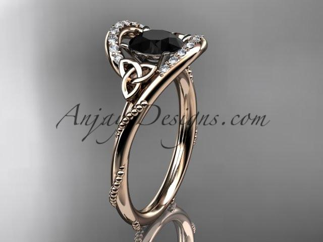 14kt rose gold diamond celtic trinity knot wedding ring, engagement ring with a Black Diamond center stone CT7166 - AnjaysDesigns