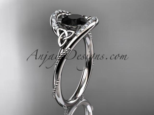 platinum diamond celtic trinity knot wedding ring, engagement ring with a Black Diamond center stone CT7166 - AnjaysDesigns