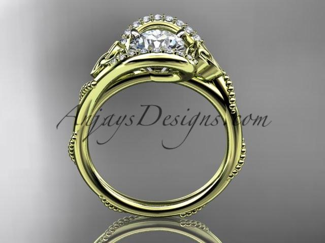 "14kt yellow gold diamond celtic trinity knot wedding ring, engagement ring with a ""Forever One"" Moissanite center stone CT7166 - AnjaysDesigns"