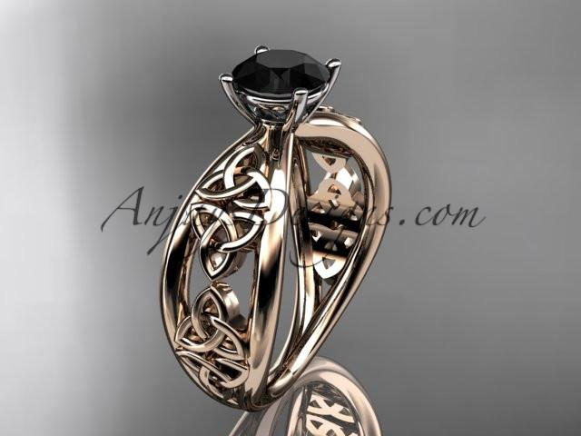 14kt rose gold diamond celtic trinity knot wedding ring, engagement ring with a Black Diamond center stone CT7171 - AnjaysDesigns