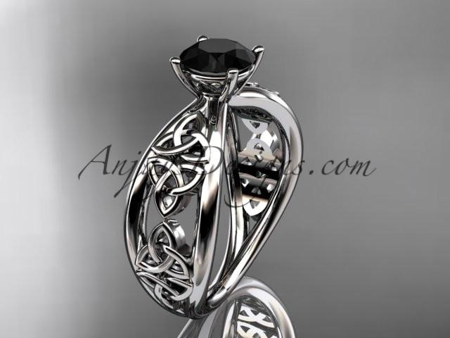 platinum diamond celtic trinity knot wedding ring, engagement ring with a Black Diamond center stone CT7171 - AnjaysDesigns