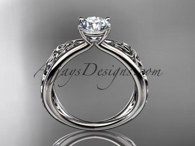 "14kt white gold diamond celtic trinity knot wedding ring, engagement ring with a ""Forever One"" Moissanite center stone CT7171 - AnjaysDesigns"