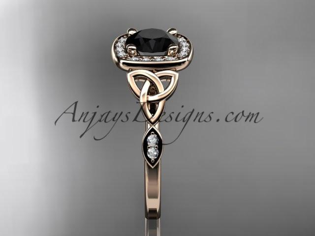 14kt rose gold diamond celtic trinity knot wedding ring, engagement ring with a Black Diamond center stone CT7179 - AnjaysDesigns
