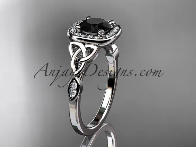 platinum diamond celtic trinity knot wedding ring, engagement ring with a Black Diamond center stone CT7179 - AnjaysDesigns