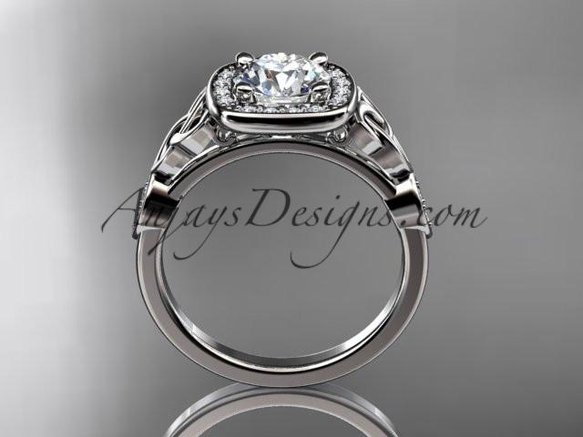 "platinum diamond celtic trinity knot wedding ring, engagement ring with a ""Forever One"" Moissanite center stone CT7179 - AnjaysDesigns"