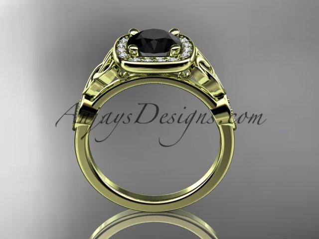 14kt yellow gold diamond celtic trinity knot wedding ring, engagement ring with a Black Diamond center stone CT7179 - AnjaysDesigns