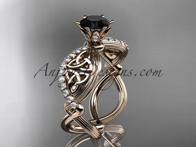 14kt rose gold diamond celtic trinity knot wedding ring, engagement ring with a Black Diamond center stone CT7192 - AnjaysDesigns