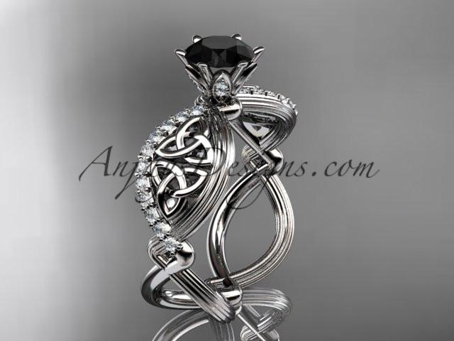 platinum diamond celtic trinity knot wedding ring, engagement ring with a Black Diamond center stone CT7192 - AnjaysDesigns