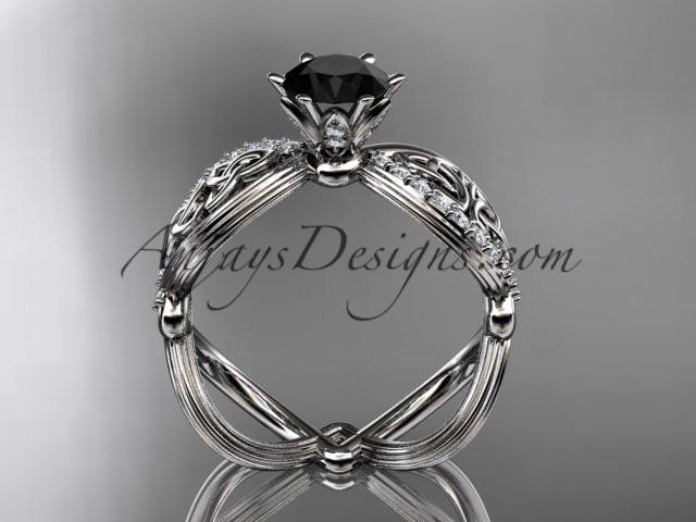 14kt white gold diamond celtic trinity knot wedding ring, engagement ring with a Black Diamond center stone CT7192 - AnjaysDesigns