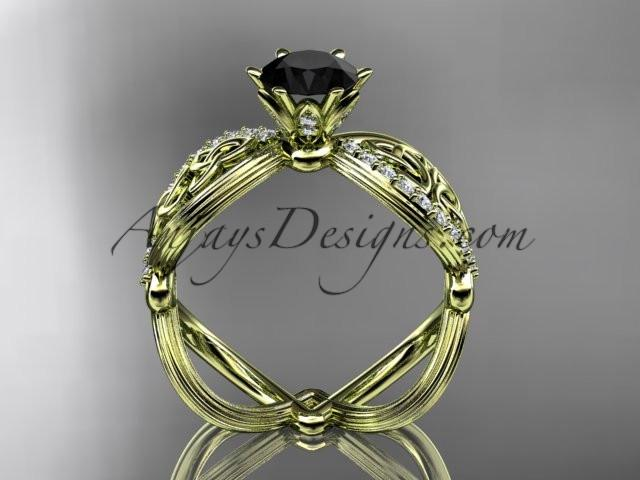 14kt yellow gold diamond celtic trinity knot wedding ring, engagement ring with a Black Diamond center stone CT7192 - AnjaysDesigns
