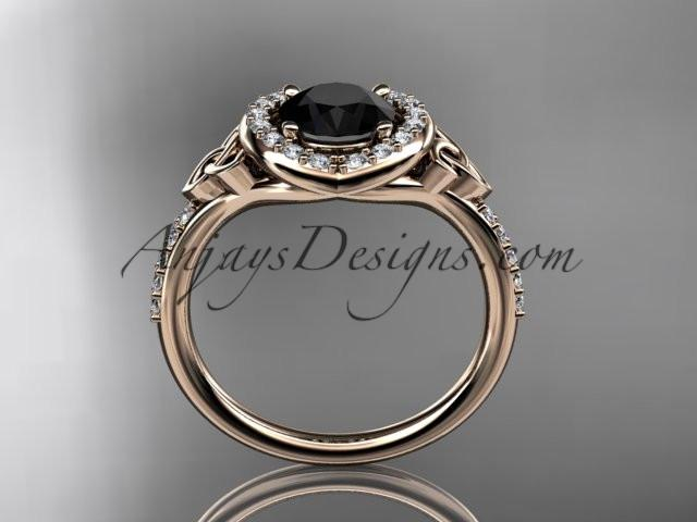14kt rose gold diamond celtic trinity knot wedding ring, engagement ring with a Black Diamond center stone CT7201 - AnjaysDesigns