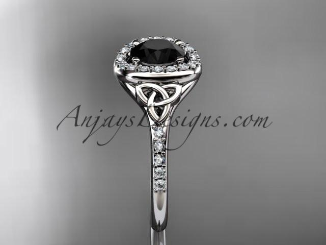 platinum diamond celtic trinity knot wedding ring, engagement ring with a Black Diamond center stone CT7201 - AnjaysDesigns