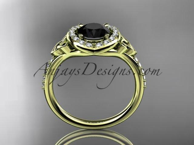 14kt yellow gold diamond celtic trinity knot wedding ring, engagement ring with a Black Diamond center stone CT7201 - AnjaysDesigns