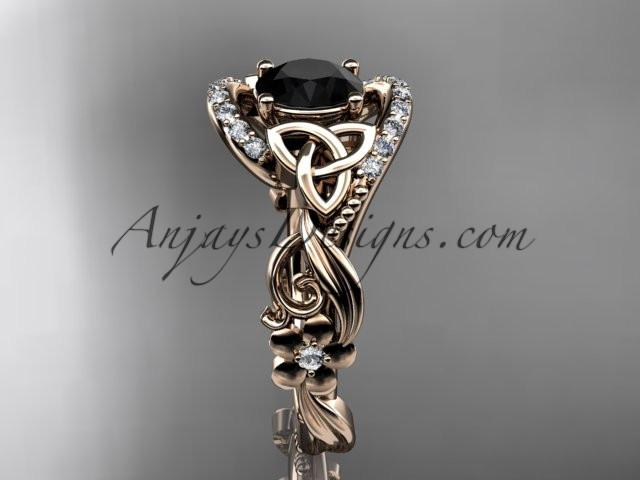14kt rose gold diamond celtic trinity knot wedding ring, engagement ring with a Black Diamond center stone CT7211 - AnjaysDesigns