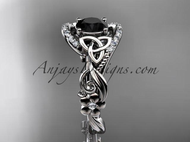 platinum diamond celtic trinity knot wedding ring, engagement ring with a Black Diamond center stone CT7211 - AnjaysDesigns