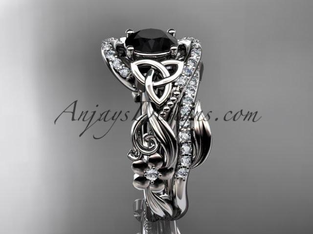 14kt white gold diamond celtic trinity knot wedding ring, engagement set with a Black Diamond center stone CT7211S - AnjaysDesigns