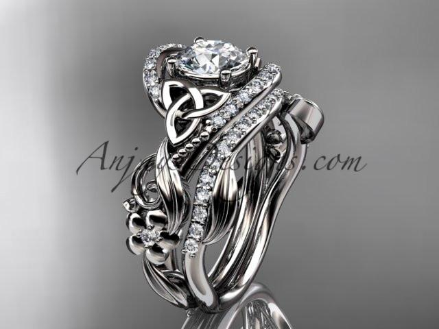 "platinum diamond celtic trinity knot wedding ring, engagement set with a ""Forever One"" Moissanite center stone CT7211S - AnjaysDesigns"