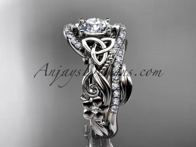 "14kt white gold diamond celtic trinity knot wedding ring, engagement set with a ""Forever One"" Moissanite center stone CT7211S - AnjaysDesigns"