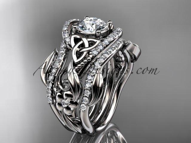 "platinum diamond celtic trinity knot wedding ring, engagement ring with a ""Forever One"" Moissanite center stone  and double matching band CT7211S - AnjaysDesigns"