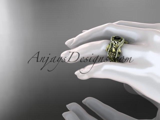 14kt yellow gold diamond celtic trinity knot wedding ring, engagement ring with a Black Diamond center stone  and double matching band CT7211S - AnjaysDesigns