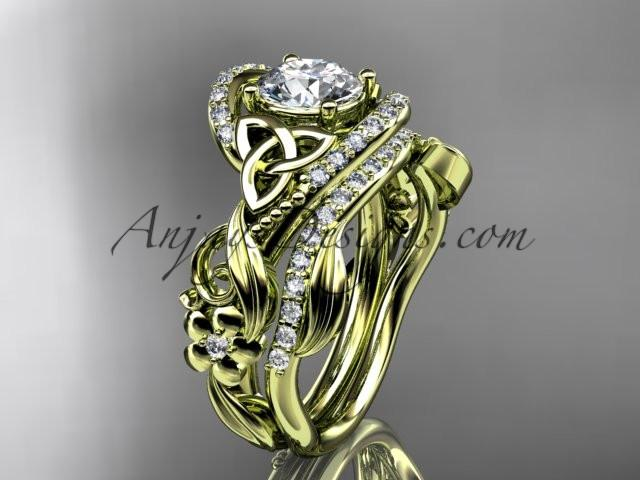 "14kt yellow gold diamond celtic trinity knot wedding ring, engagement set with a ""Forever One"" Moissanite center stone CT7211S - AnjaysDesigns"