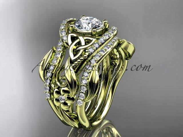 "14kt yellow gold diamond celtic trinity knot wedding ring, engagement ring with a ""Forever One"" Moissanite center stone  and double matching band CT7211S - AnjaysDesigns"