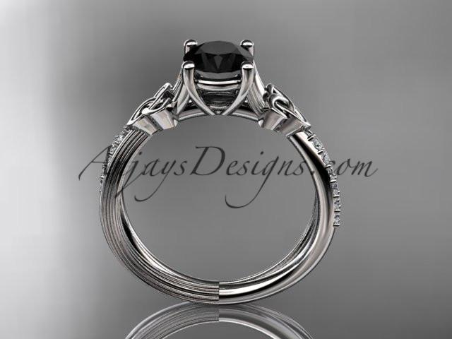 platinum diamond celtic trinity knot wedding ring, engagement ring with a Black Diamond center stone CT7214 - AnjaysDesigns