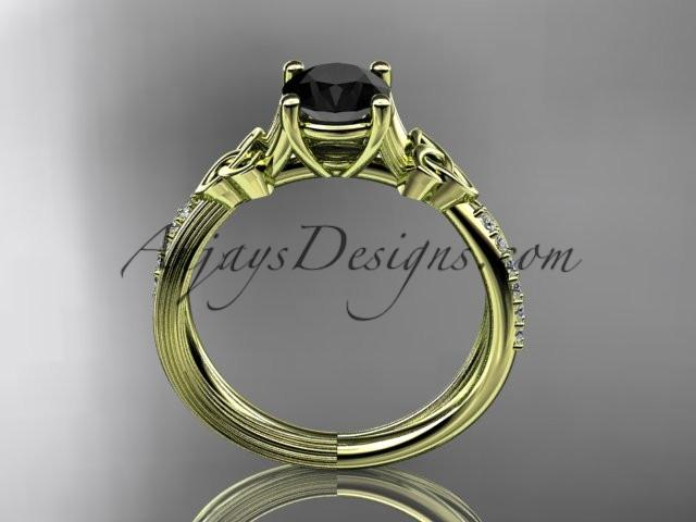 14kt yellow gold diamond celtic trinity knot wedding ring, engagement ring with a Black Diamond center stone CT7214 - AnjaysDesigns