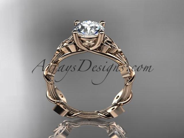 "14kt rose gold diamond celtic trinity knot wedding ring, engagement ring with a ""Forever One"" Moissanite center stone CT7215 - AnjaysDesigns"