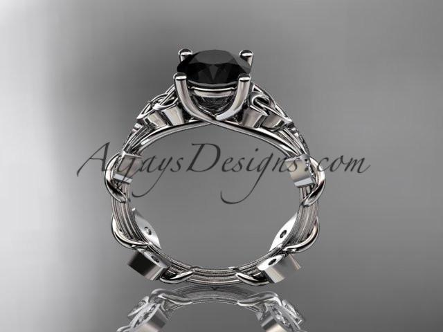 platinum diamond celtic trinity knot wedding ring, engagement ring with a Black Diamond center stone CT7215 - AnjaysDesigns