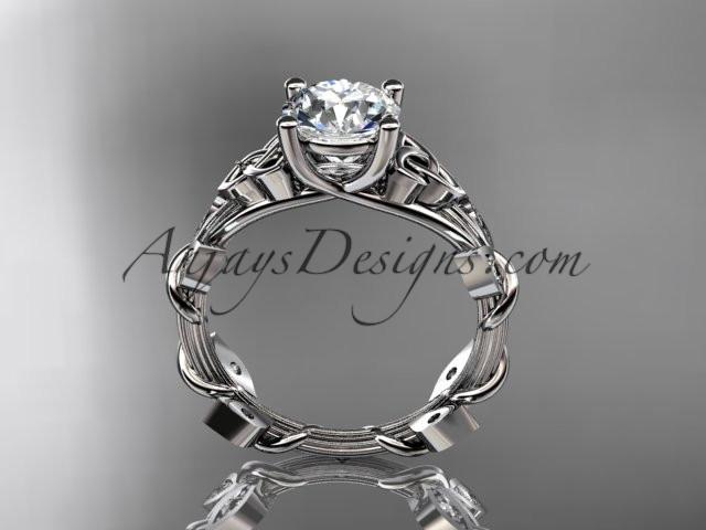 "14kt white gold diamond celtic trinity knot wedding ring, engagement ring with a ""Forever One"" Moissanite center stone CT7215 - AnjaysDesigns"