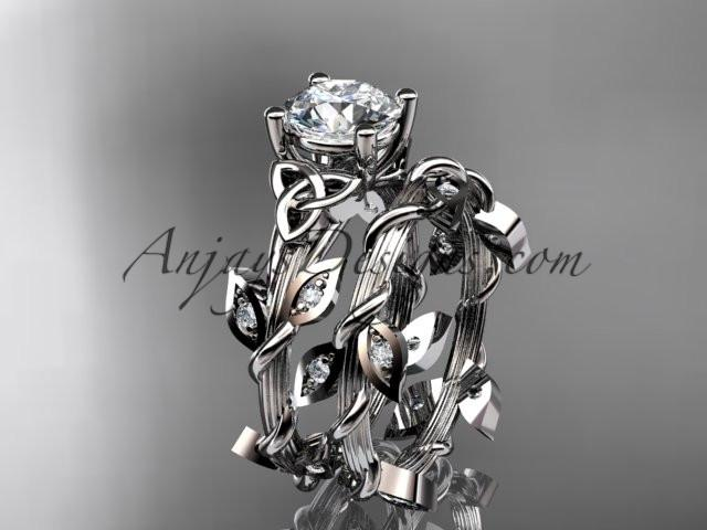 "platinum diamond celtic trinity knot wedding ring, engagement ring with a ""Forever One"" Moissanite center stone CT7215S - AnjaysDesigns"