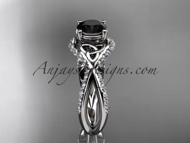 14kt white gold diamond celtic trinity knot wedding ring, engagement ring with a Black Diamond center stone CT7218 - AnjaysDesigns