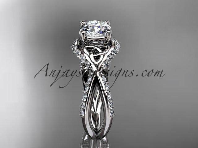 "platinum diamond celtic trinity knot wedding ring, engagement ring with a ""Forever One"" Moissanite center stone CT7218 - AnjaysDesigns"