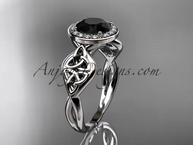 platinum diamond celtic trinity knot wedding ring, engagement ring with a Black Diamond center stone CT7219 - AnjaysDesigns