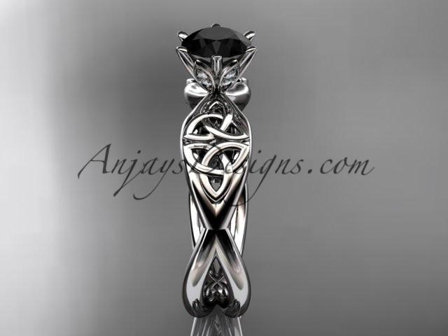 platinum diamond celtic trinity knot wedding ring, engagement ring with a Black Diamond center stone CT7221 - AnjaysDesigns
