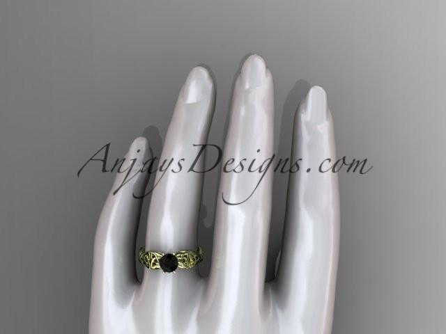 14kt yellow gold diamond celtic trinity knot wedding ring, engagement ring with a Black Diamond center stone CT7221 - AnjaysDesigns