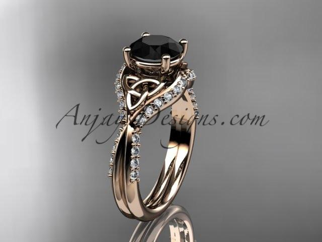 14kt rose gold diamond celtic trinity knot wedding ring, engagement ring with a Black Diamond center stone CT7224 - AnjaysDesigns